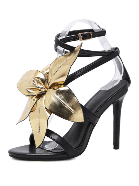 Milanoo High Heel Sandals Womens Flower Decorated Open Toe Stiletto Heel Sandals