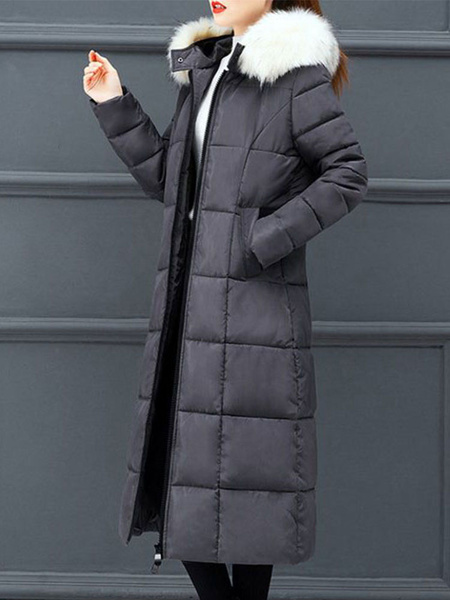 Milanoo Puffer Coats Blue Color Block Casual Women Oversized Hooded Long Sleeves Winter Coat