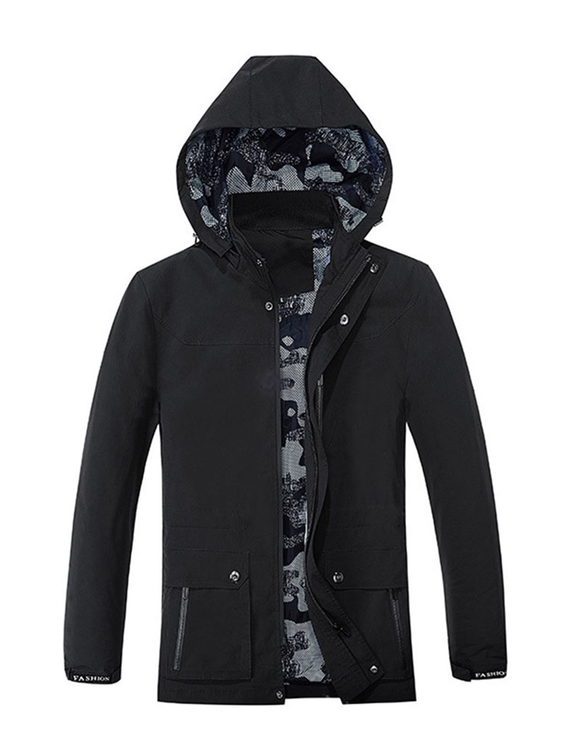 Ericdress Plain Thick Hooded Single-Breasted Men's Jacket