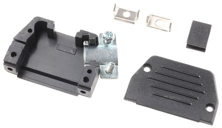 MH Connectors , MHED Thermoplastic Angled, Straight D-sub Connector Backshell, 15 Way, Strain Relief, Black