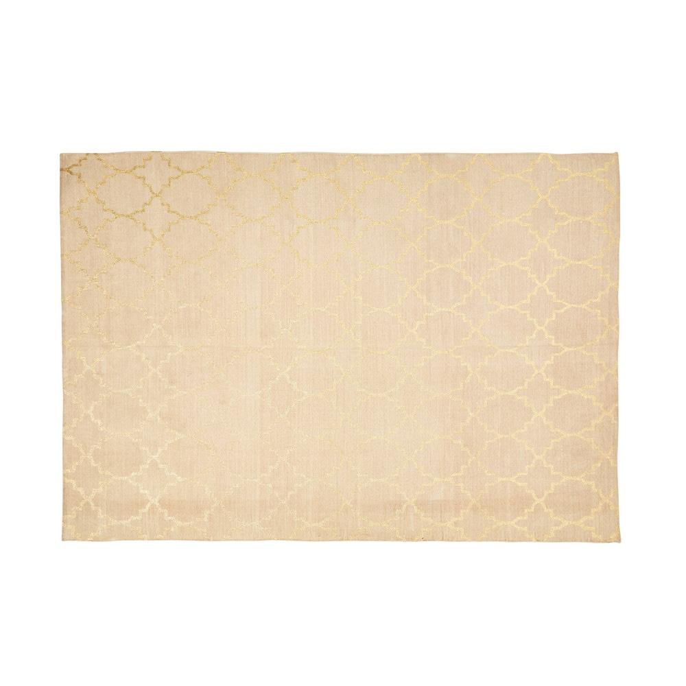 Teppich aus Baumwolle mit goldfarbenen Motiven 150x230cm NESTOR
