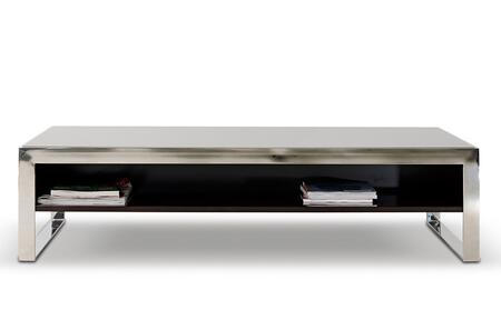 VGHB131D Modrest Noble Coffee Table wtih Tempered Glass Top  Stainless Steel Frame and One-Sided Shelf in Ebony Lacquer