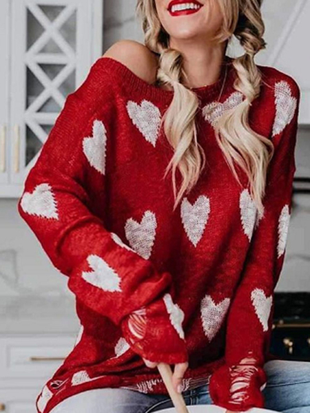 Yoins Christmas Red Ripped Heart Print One Shoulder Sweater