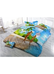 Tropical Honeymoon Vacation Wear-resistant Breathable High Quality 60s Cotton 4-Piece 3D Bedding Sets