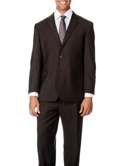Caravelli Mens DoubleVent Brown SingleBreasted 2Button Notch LapelSuit
