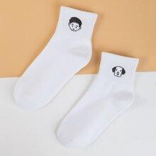 2 pares calcetines con bordado de figura
