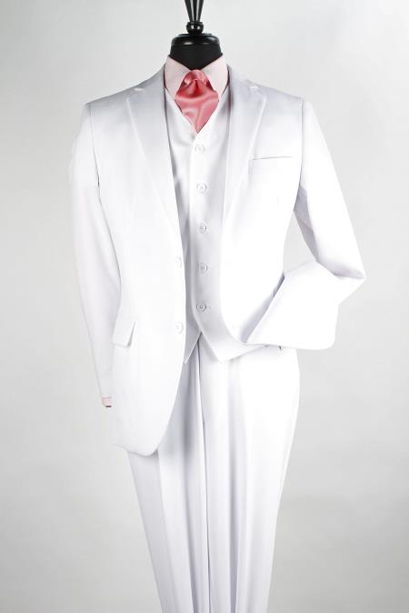 Mens 2 Button Jacket 3 Piece Poplin Suit Pure White Standard Length