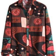 Hemd mit Stamm Muster und gebogenem Saum