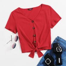 Button Front Tie Hem Rib-Knit Tee