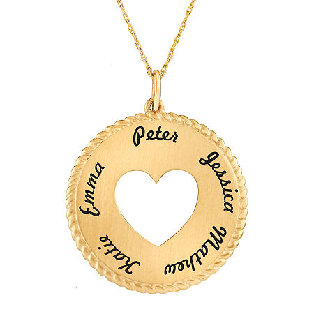 Personalized 10K Yellow Gold Round Disc Heart Pendant Necklace, One Size , Yellow