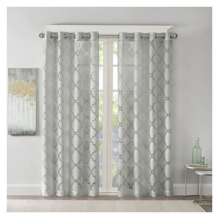 Madison Park Laya Trellis Sheer Grommet-Top Single Curtain Panel, One Size , Gray