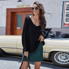 Einfarbig Laessig Pullover