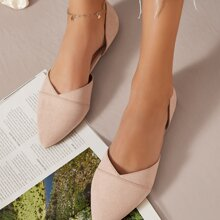 Zapatillas dorsay de punta de ante vegano