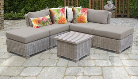 Coast Collection COAST-06f-BEIGE 6-Piece Patio Set 06f with 1 Corner Chair   2 Armless Chair   2 Ottoman   1 End Table - 2 Sets of Beige