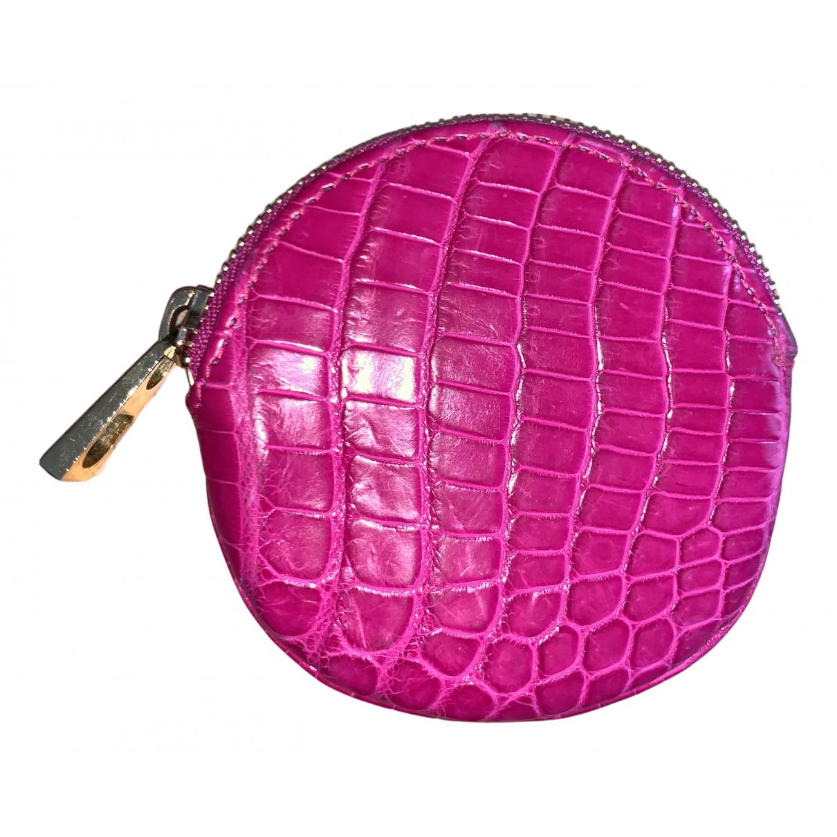 - Petite maroquinerie   pour femme en crocodile - rose