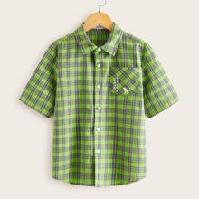 Boys Pocket Patched Slogan Graphic Plaid Shirt