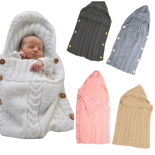 70*35cm Newborn Baby Sleeping Bag Winter Warm Wool Knitted Hoodie Soft InfantBlanket