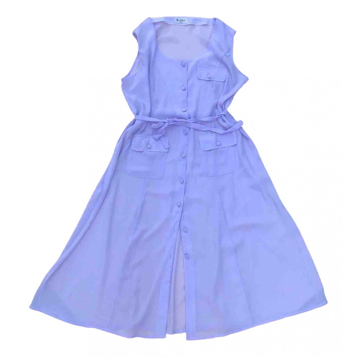 Non Signe / Unsigned Epaulettes Kleid in  Lila Seide