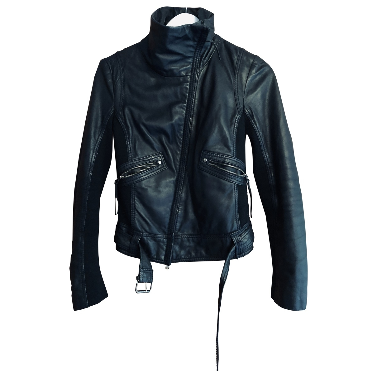 Flora Smith \N Black Leather Leather jacket for Women 42 IT