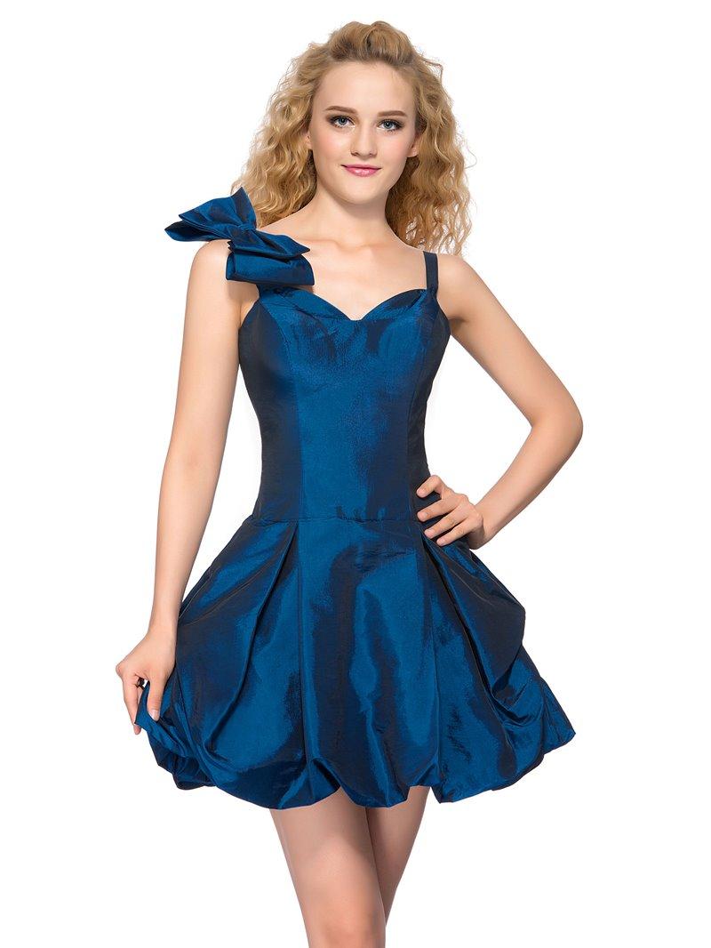 Sweet Straps Bowknot Short Homecoming Dress