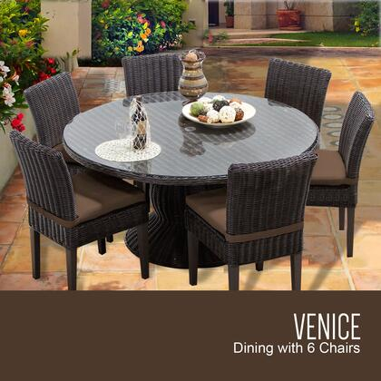 VENICE-60-KIT-6C-COCOA Venice 60 Inch Outdoor Patio Dining Table with 6 Armless Chairs with 2 Covers: Wheat and