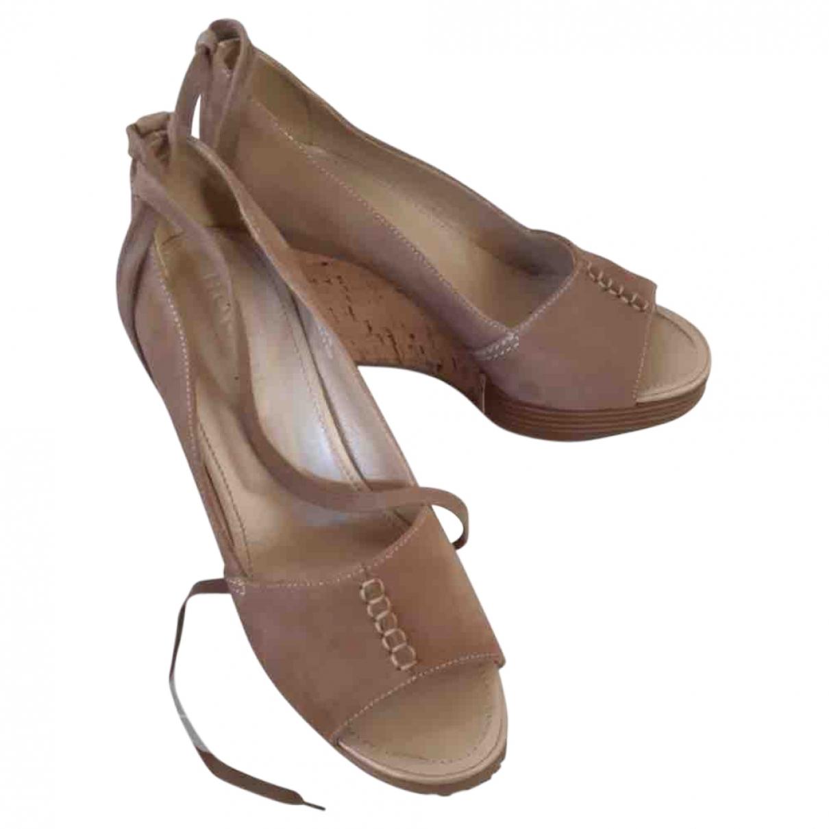 Hogan - Sandales   pour femme en cuir - camel