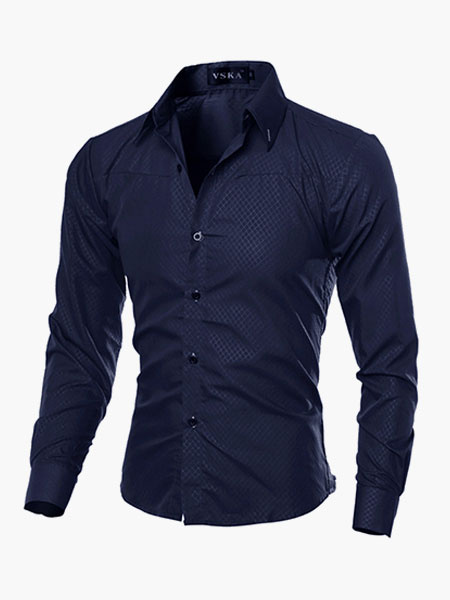 Milanoo Men Casual Shirt Black Stand Collar Long Sleeve Cotton Shirt