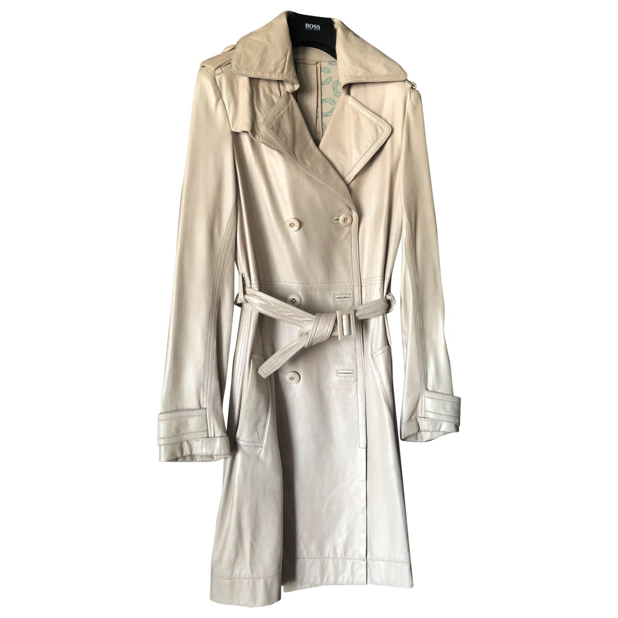 Patrizia Pepe \N Beige Leather Trench coat for Women 42 IT