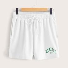 Letter Graphic White Drawstring Shorts