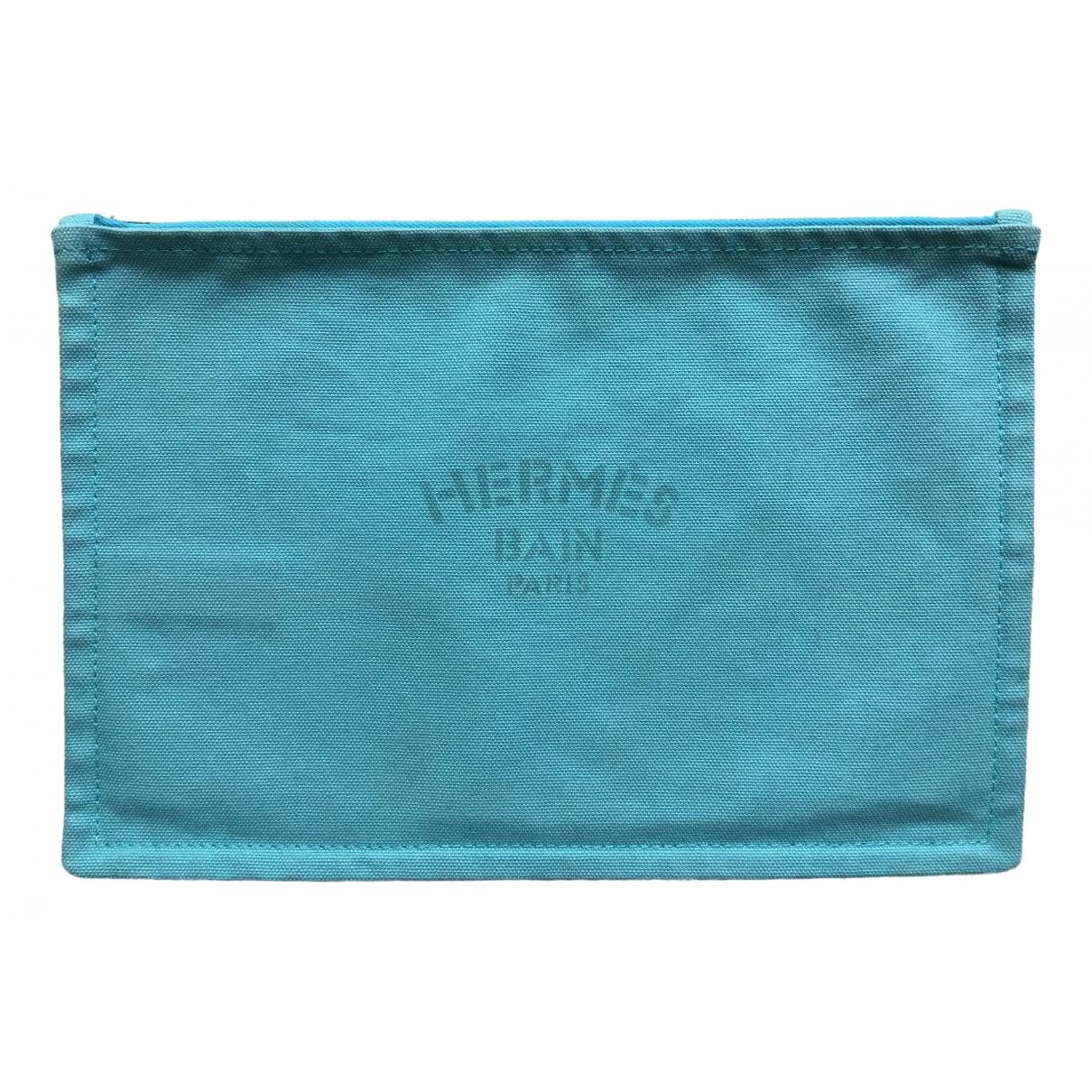 Hermes - Sac de voyage   pour femme en toile - turquoise
