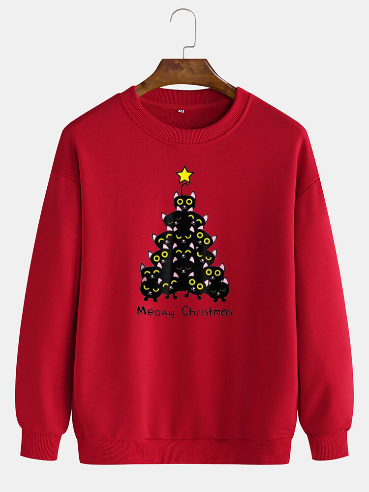 Mens Cat Christmas Tree Print Crew Neck Pullover Drop Shoulder Sweatshirts