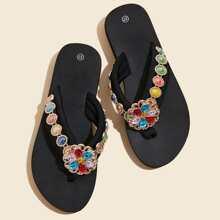 Gemstone & Beaded Decor Flip Flops