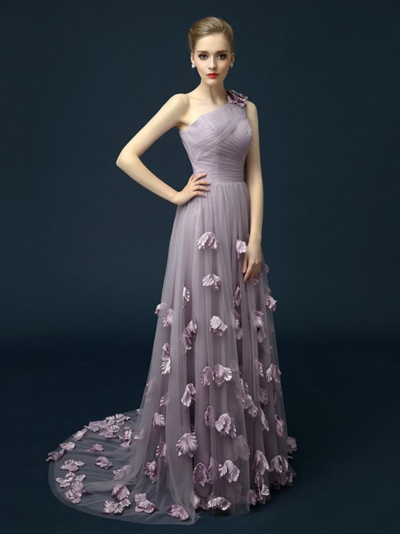 Ericdress A-Line One-Shoulder Pleats Flowers Court Train Evening Dress