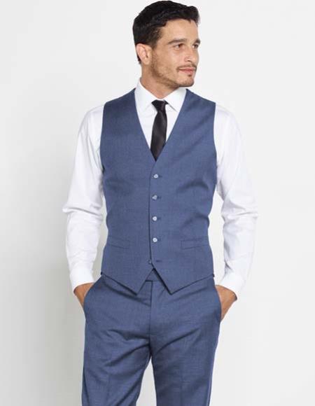 Mens Regular Fit Navy Blue Vest Dress Pants Color Shirt Tie