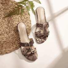 Open Toe Cut Out Snakeskin Sliders