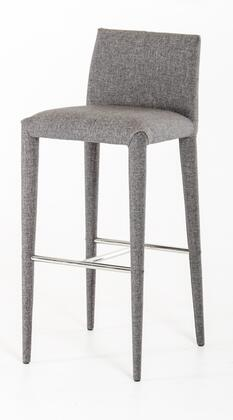 VGEUMC-8219CH-B Modrest Medford Bar Stool with Square Seat  Upholstered Tall Metal Tapered Legs  Non-Skid Caps  Footrest and Fabric Upholstery in