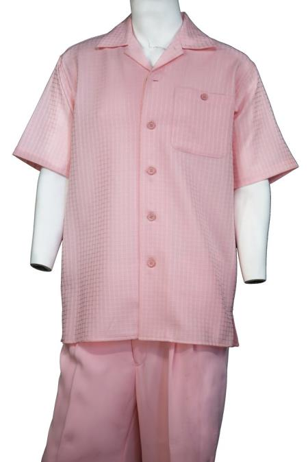 Mens Vintage Grid Button Fastening Short Sleeve Walking Suit