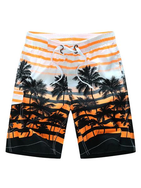 Milanoo Mens Swim Trunks Yellow Swimsuit Shorts With Cocoanut Trees Printed Drawstring Waist Hawaiian Summer Shorts