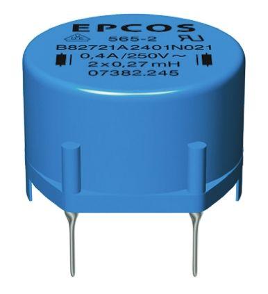 EPCOS 27 mH ±30% Ferrite Leaded Inductor, 400mA Idc, 1.7Ω Rdc, B82721A