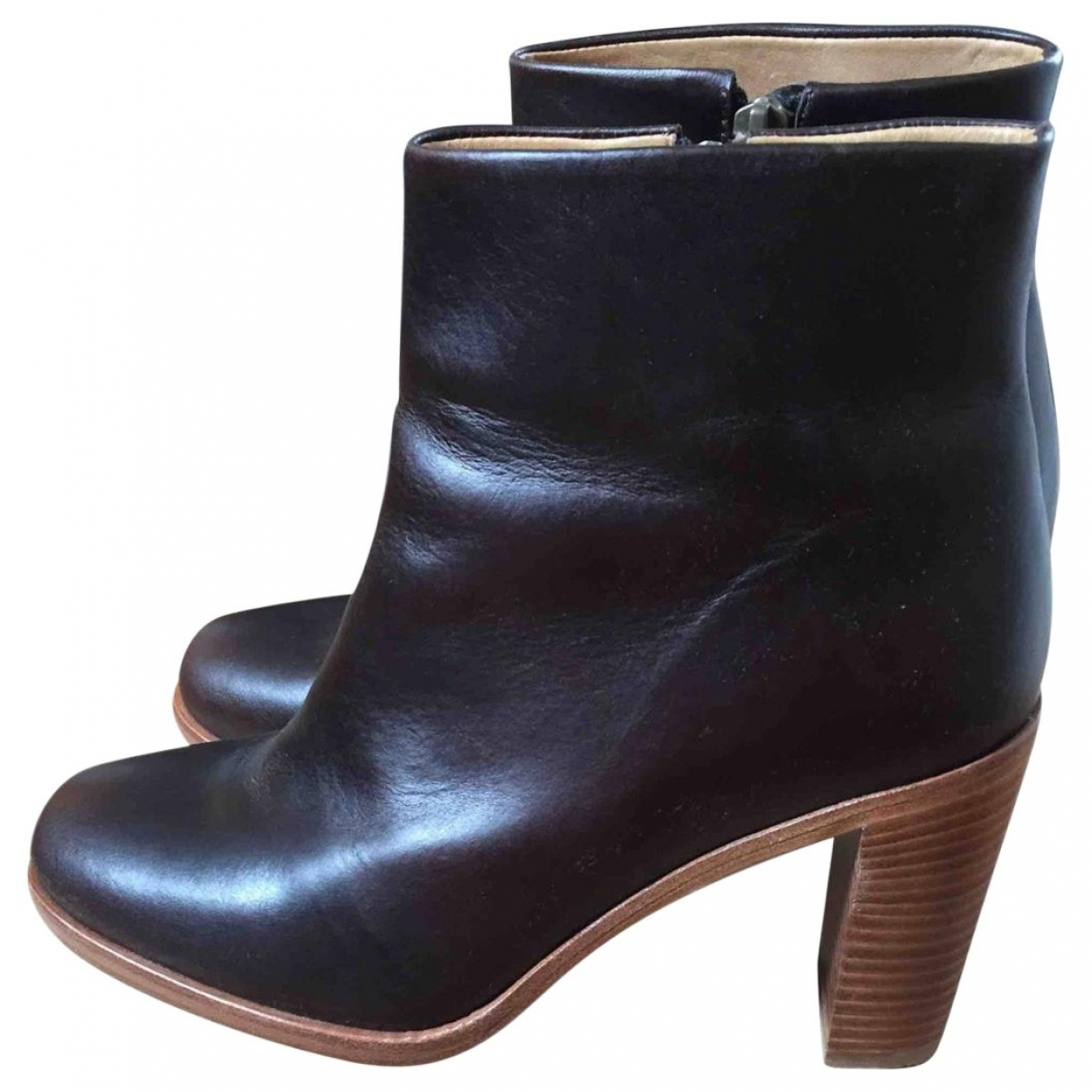 Apc \N Burgundy Leather Ankle boots for Women 39 EU