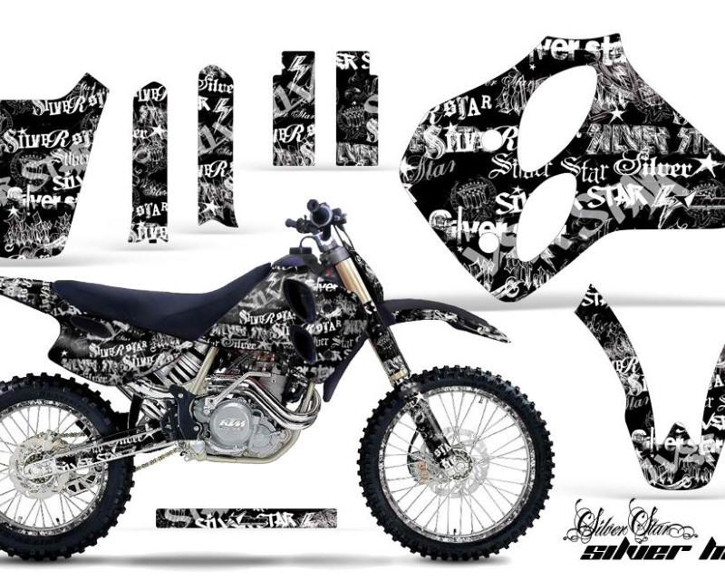 AMR Racing Graphics MX-NP-KTM-C0-93-97-SSSH W K Kit Decal Sticker Wrap + # Plates For KTM SX/XC/EXC/LC4 1993-1997áSSSH WHITE BLACK