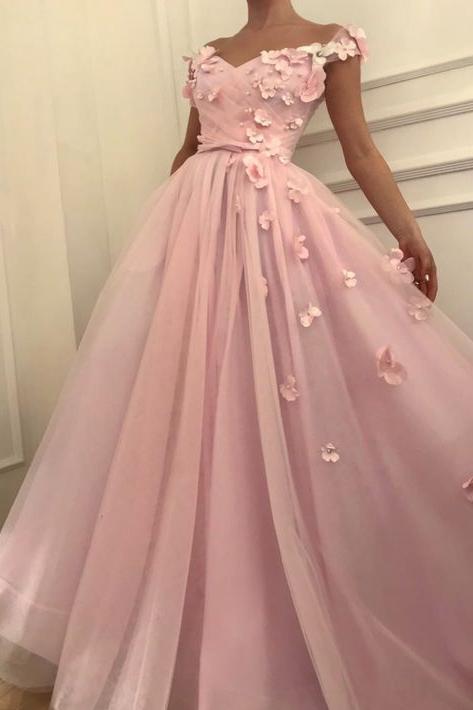 Fleurs roses une ligne tulle longue robe de bal pas cher   Elegante robe de soiree asymetrique