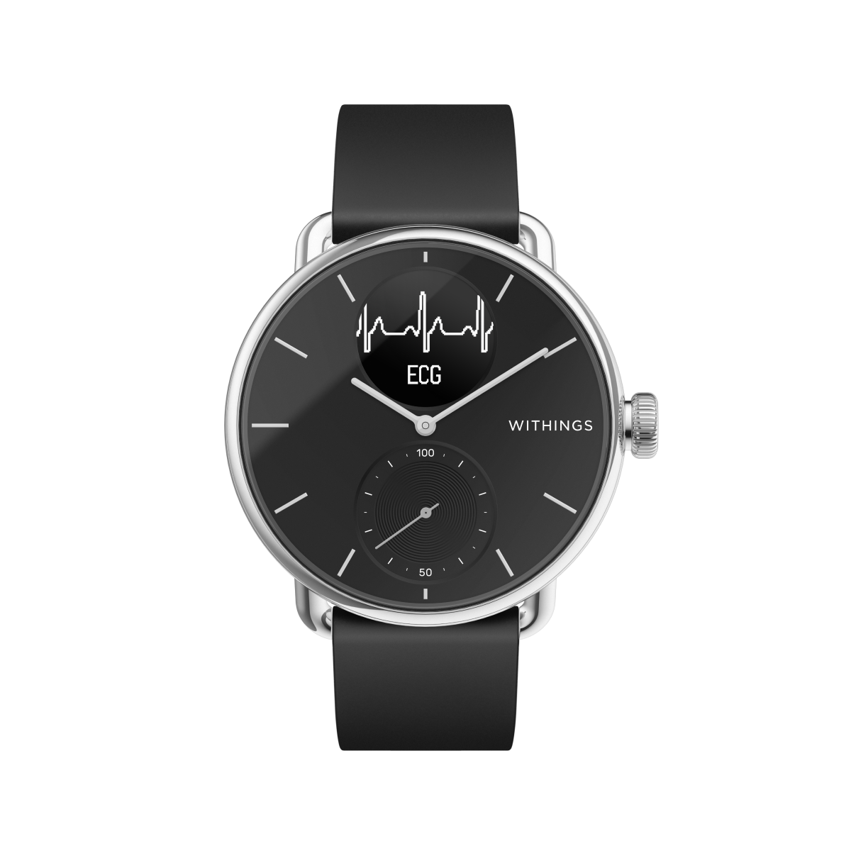 Withings ScanWatch, 38mm, Schwarz - Hybrid Smartwatch mit EKG, Herzschlagmesser und Blutsauerstoff Oximeter (SpO2) - Offizieller Withings Shop
