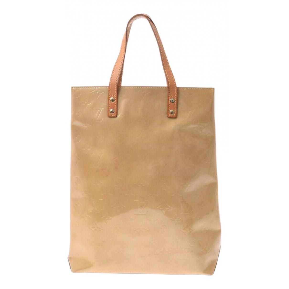 Louis Vuitton - Sac a main Reade pour femme en cuir verni - beige