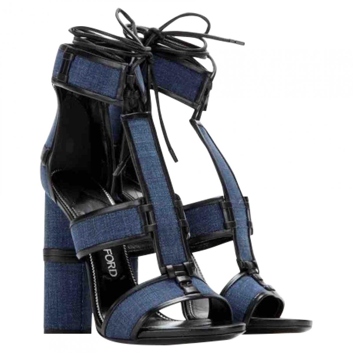 Tom Ford - Sandales   pour femme en cuir - bleu