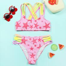 Bikini Badeanzug mit Seestern Muster und buntem Riemen