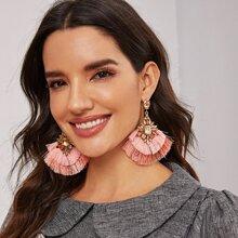 1pair Rhinestone Decor Layered Tassel Drop Earrings