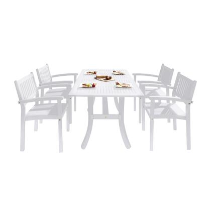 Bradley Collection V1337SET25 5-Piece Outdoor Patio Dining Set with Rectangular Table and 4 Stacking Chairs in