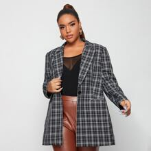 Plus Pocket Front Tartan Blazer