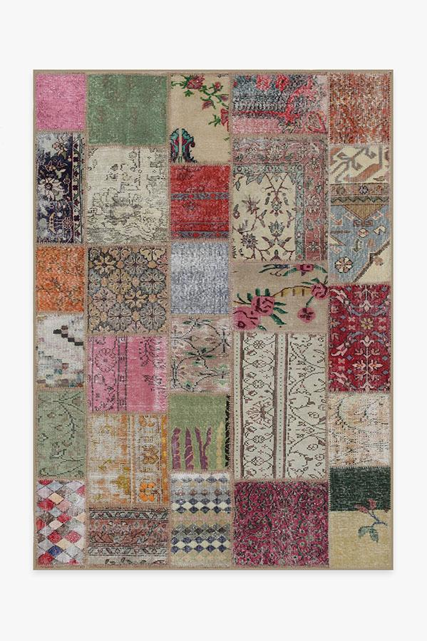 Washable Rug Cover & Pad | Patchwork Boho Rug | Stain-Resistant | Ruggable | 5'x7'